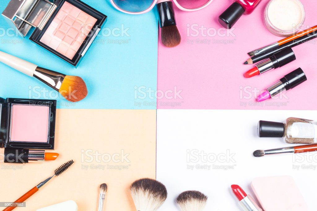 Color background lady cosmetics,