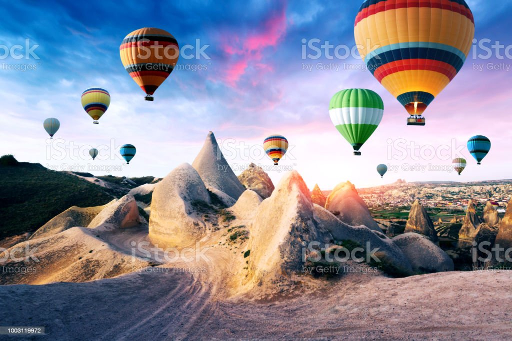 Color balloons in the sunrise sky stock photo