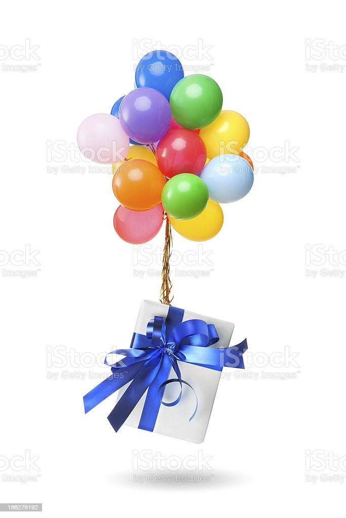 color balloons with gift isolated on white royalty-free stock photo