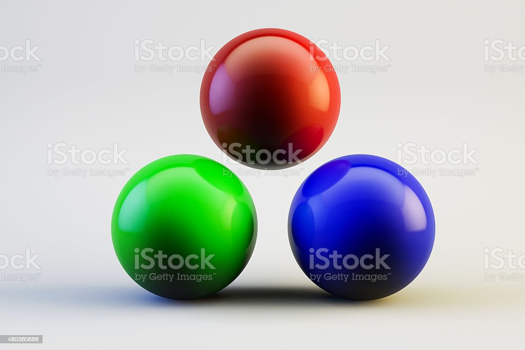3D RGB (Red - Green - Blue) Color Balls stock photo