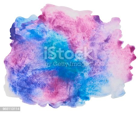 istock Color, blue - red splash watercolor hand painted isolated on white background, artistic decoration or background 955113114