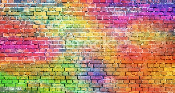 painted brick wall, abstract background of different colors