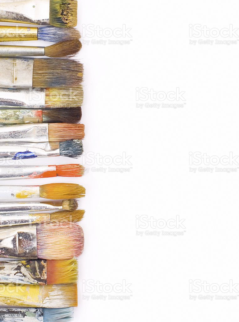 color brushes on white background royalty-free stock photo