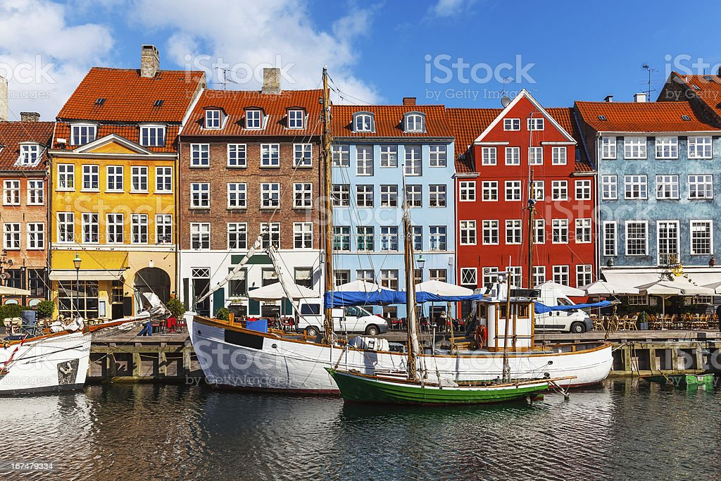 Color buildings of Nyhavn in Copehnagen, Denmark stock photo
