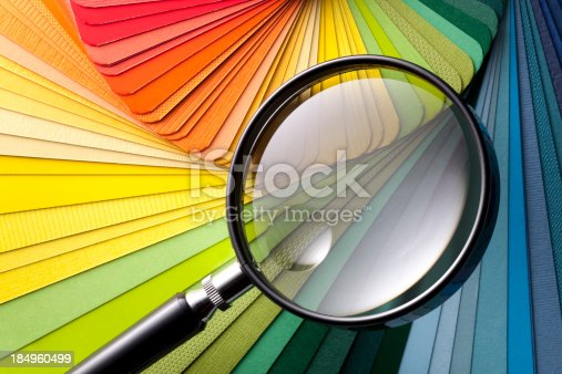 istock Color card with magnifying glass 184960499