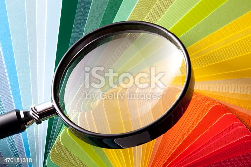 istock Color card with magnifying glass 470181318