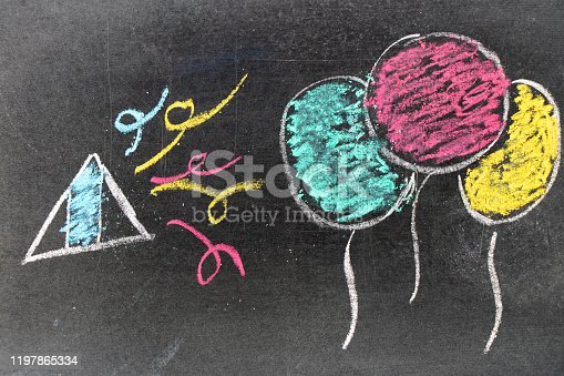 882318110 istock photo Color chalk hand drawing in balloon and papershoot shape on blackboard background 1197865334