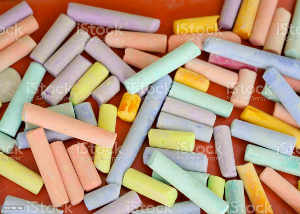 color chalk on table foto stock royalty-free