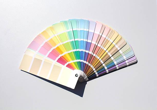color chart - kleurenwaaier stockfoto's en -beelden