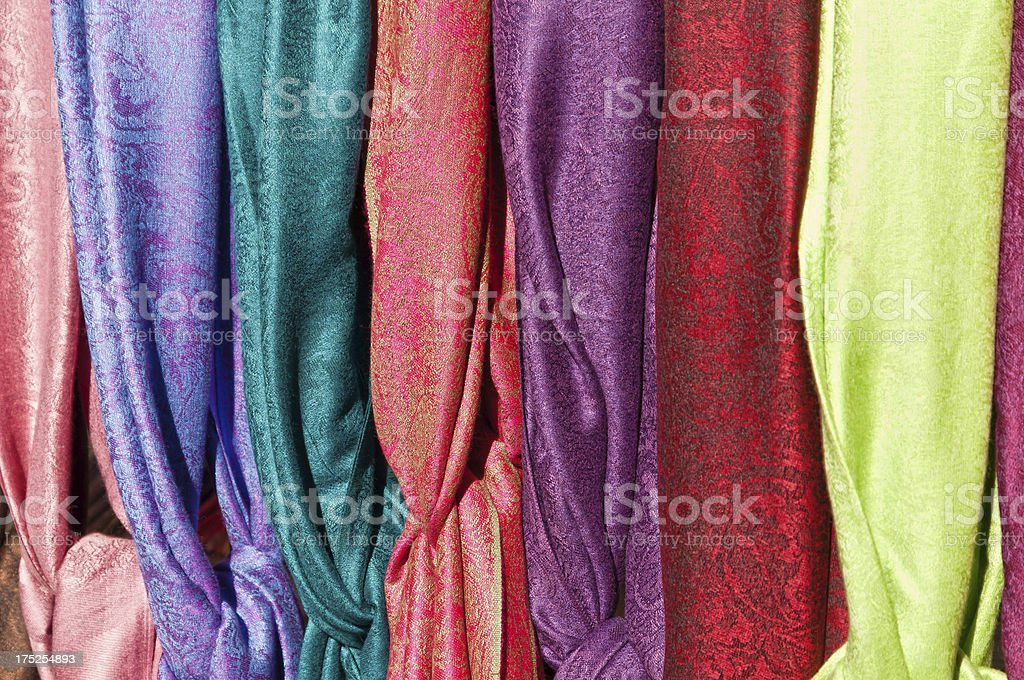 Color choices - display with multicolor scarves for women royalty-free stock photo