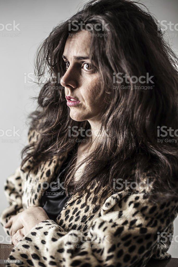 Color Close Up Depressed Woman About to Cry Frustrated  Pensive royalty-free stock photo