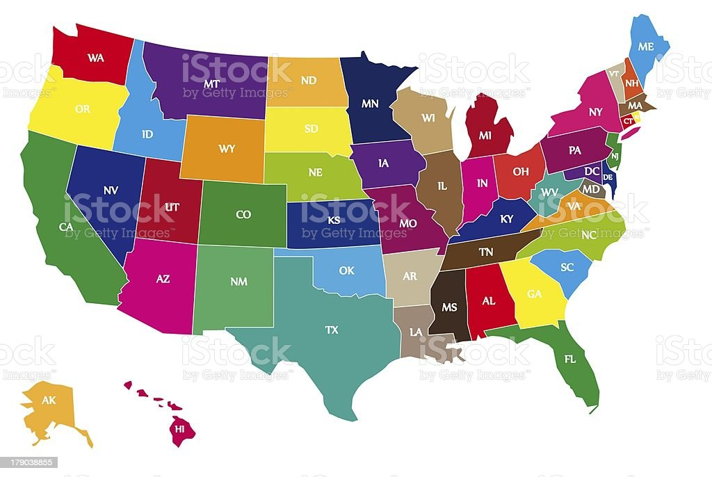 Color coded map of USA stock photo