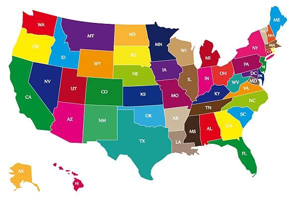 mapa de estados unidos con código de color - us map fotografías e imágenes de stock