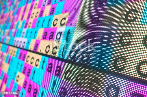 DNA color coded sequence in large LED screen
