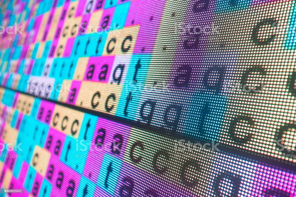 DNA color coded sequence in large LED screen stock photo