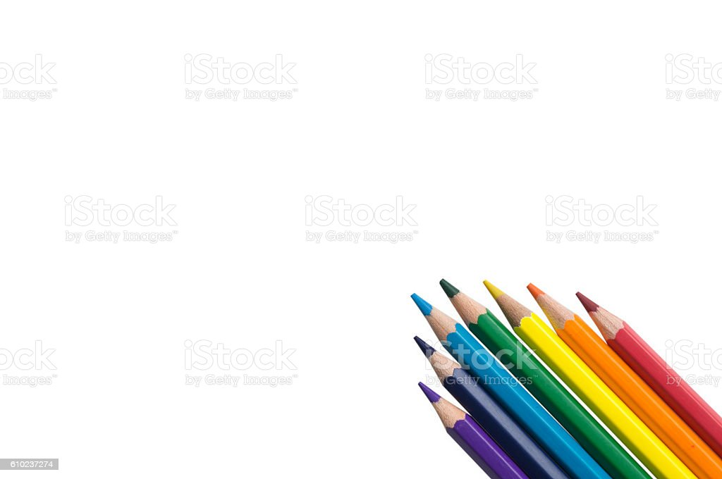 color colourful pencil background inline rainbow color stock photo