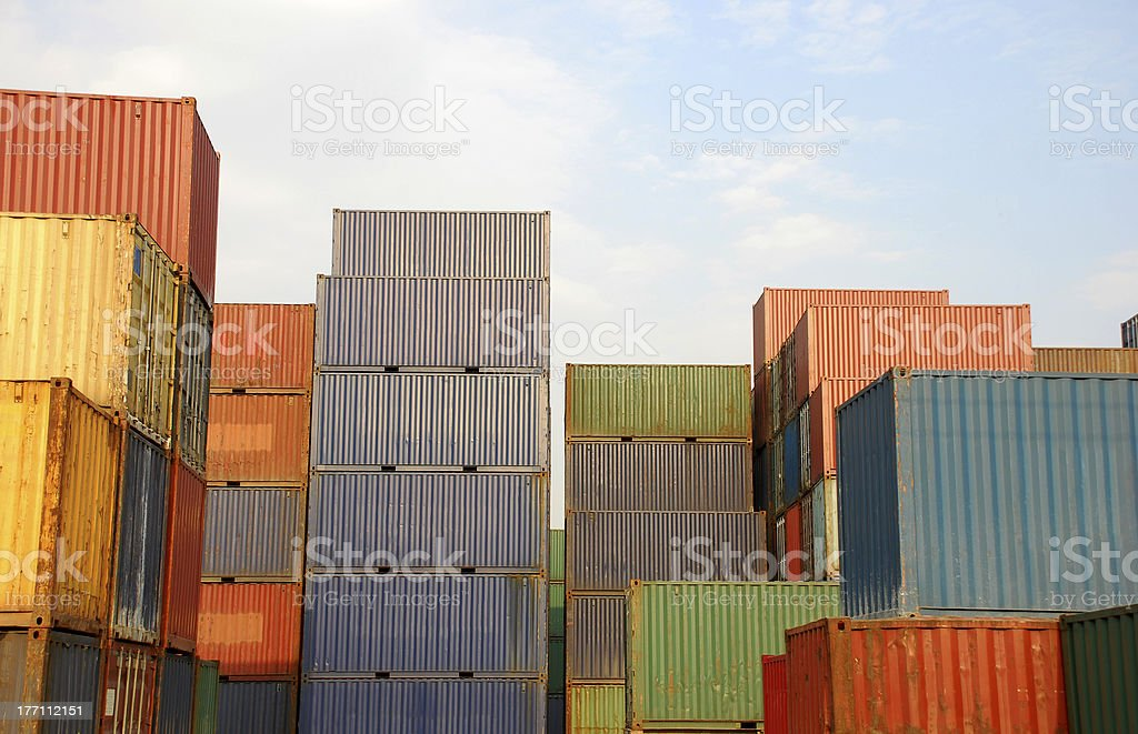 color container in freight yard stock photo