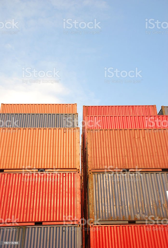 color container with sky stock photo