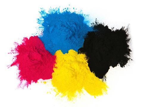 istock Color copier toner cyan magenta yellow, black isolated on Color copier tone 686578062