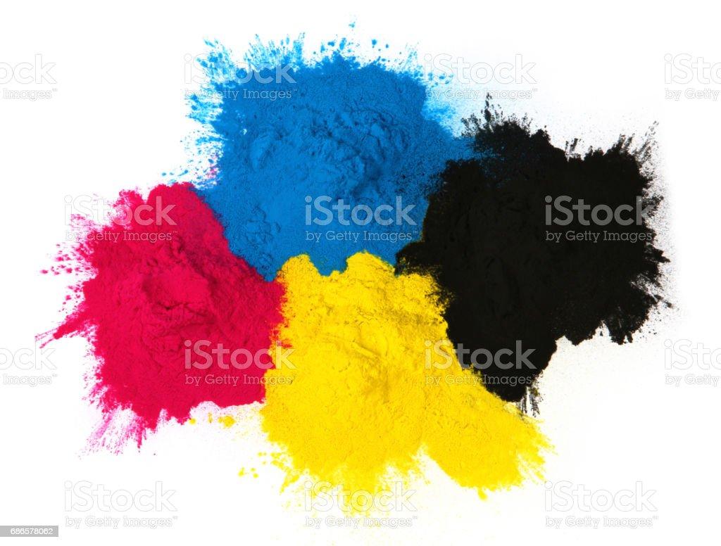 Color copier toner cyan magenta yellow, black isolated on Color copier tone stock photo