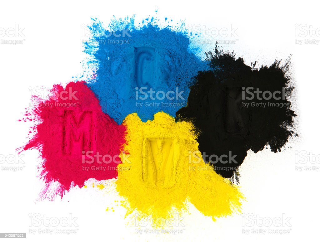 Color copier toner stock photo
