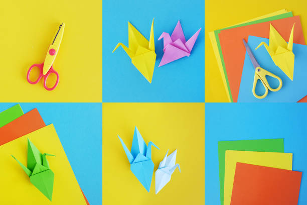 farbe-krane des origami aus papier. collage. - origami anleitungen stock-fotos und bilder