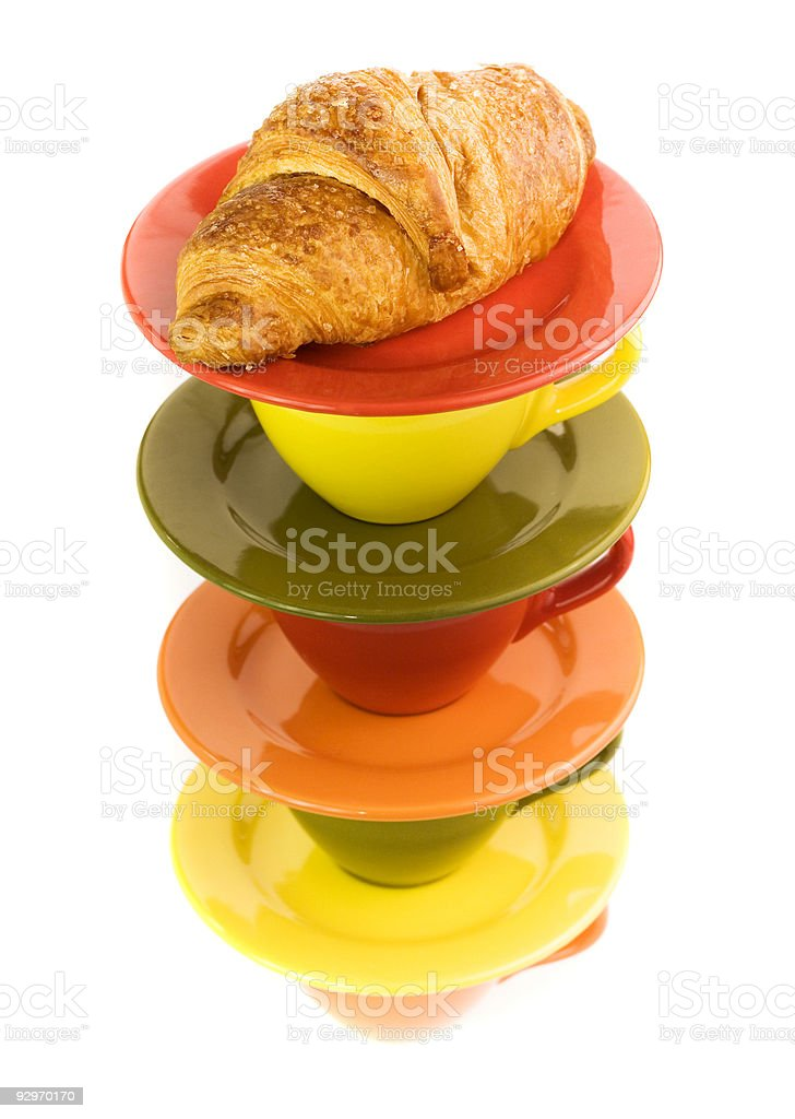 Color cups and fresh croissant royalty-free stock photo
