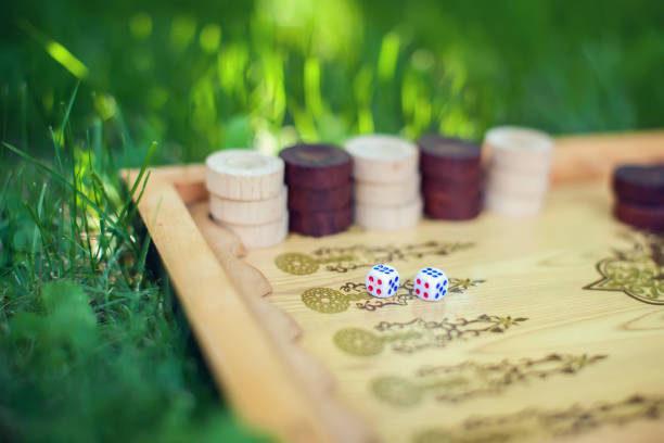 Color detail of a Backgammon game with two dice close up on the grass stock photo
