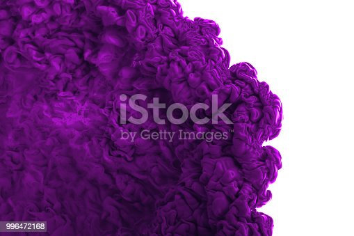 637797672istockphoto Color drop in water, photographed in motion. Abstract swirling. Cloud of silky bulb under water isolated on white background. Blue paint 996472168