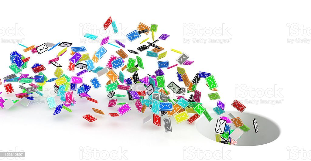 Color Emails, Hole stock photo