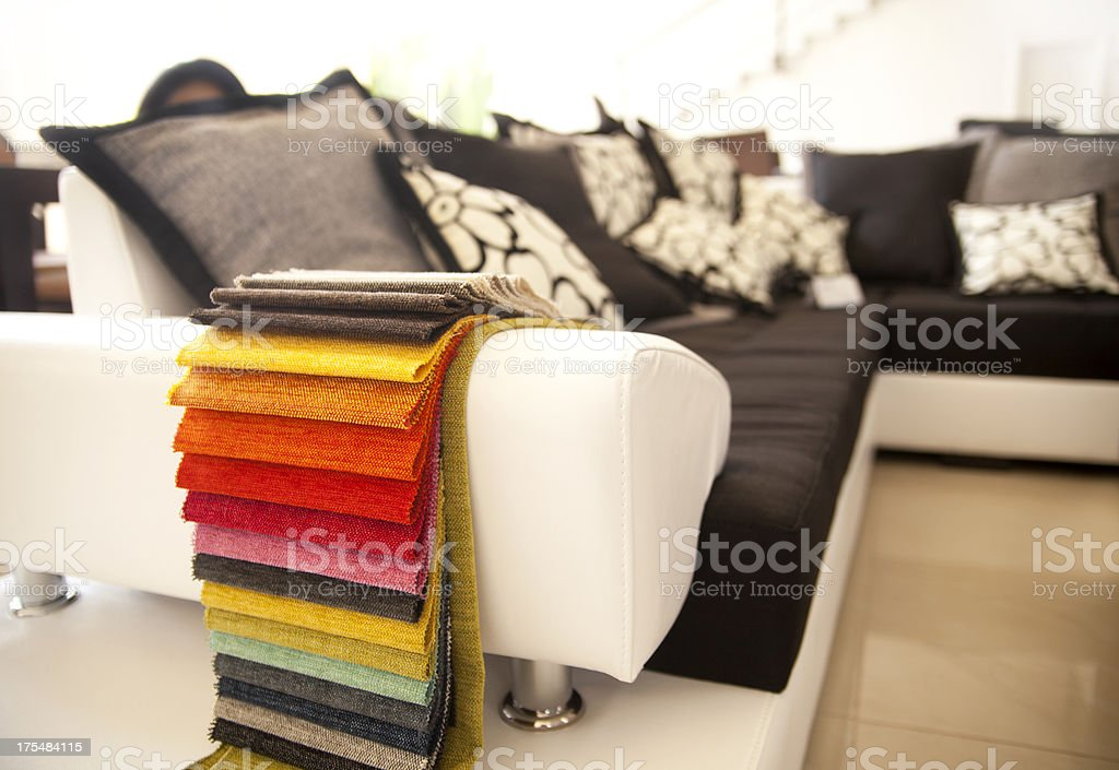 Color fabric samples of various colors stock photo