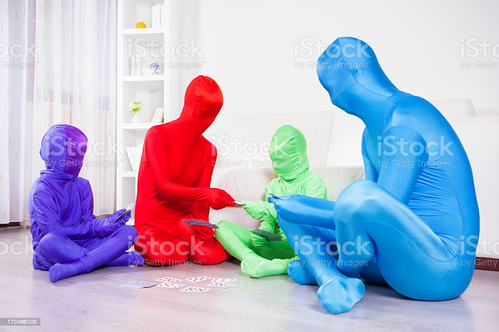 Color Family Playing cards at home. stock photo