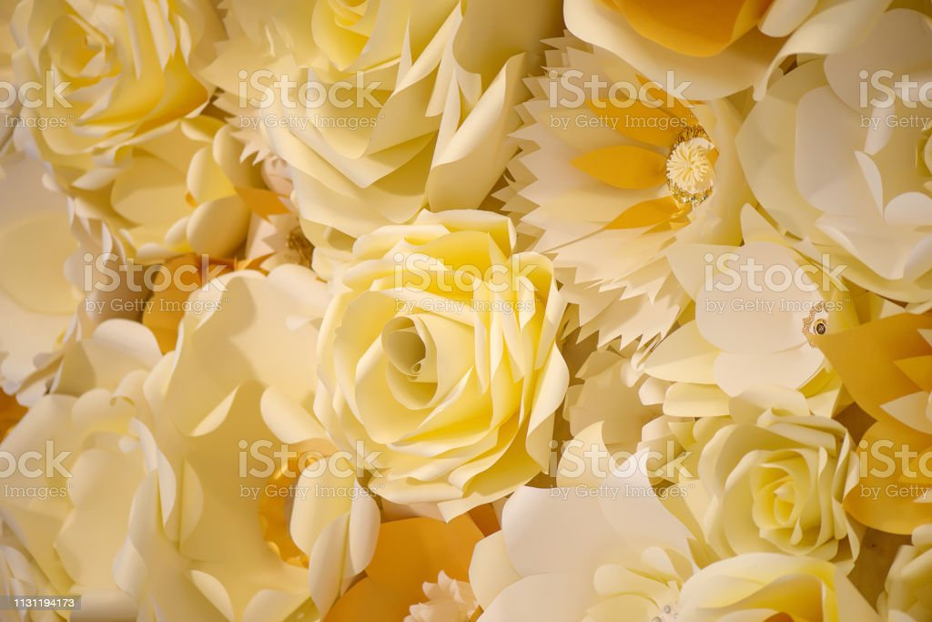 Color Filter Effect In Pastel Yellow Of A 3d Paper Flower Wall Decor