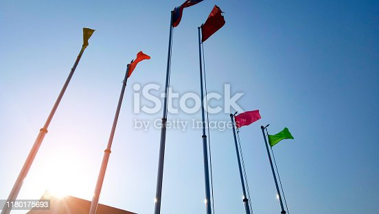 Color flag with bluesky and sunset light