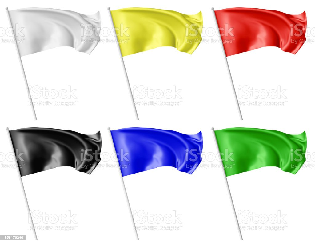 Color flags on flagpole waving in wind set stock photo