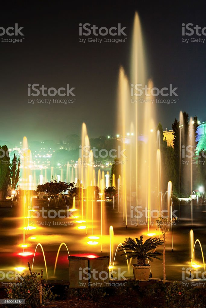 Color fountains stock photo