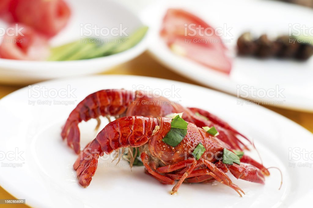 Color Fried small lobster royalty-free stock photo