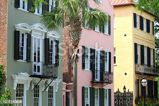 row of color full buildings Charleston South Carolina