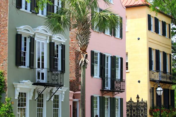 color full buildings Charleston row of color full buildings Charleston South Carolina south carolina stock pictures, royalty-free photos & images