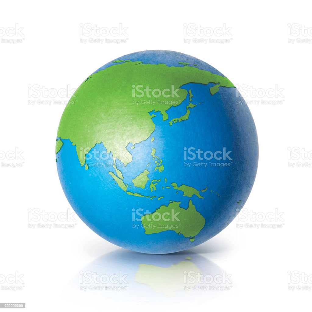 Color globe 3D illustration Asia & Australia map stock photo