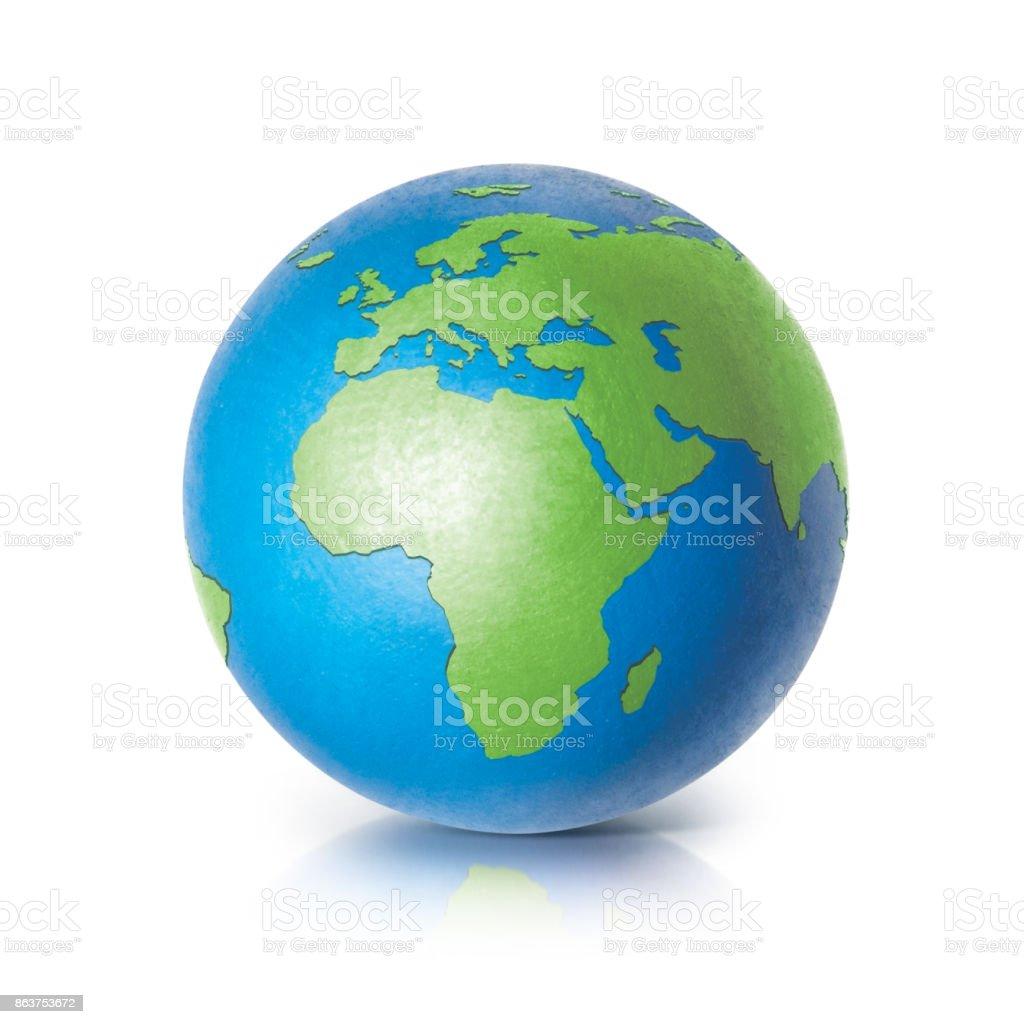 Mapa de Europa y África de globo color sobre fondo blanco - foto de stock