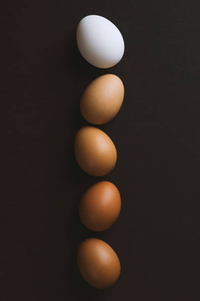 Color gradient eggs in a row on black background stock photo