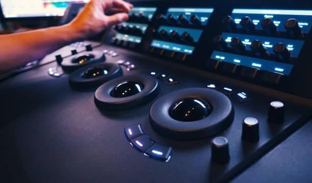 Color grading controller machine in telecine room studio lab stock photo