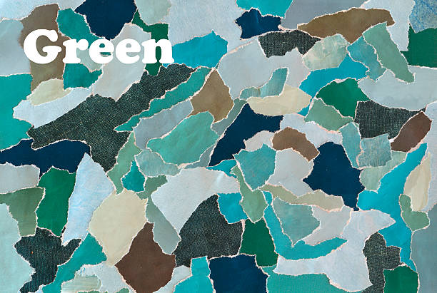 farbe grün creative-mood brett collage blatt zerriß zeitschriften - flyer inspiration stock-fotos und bilder