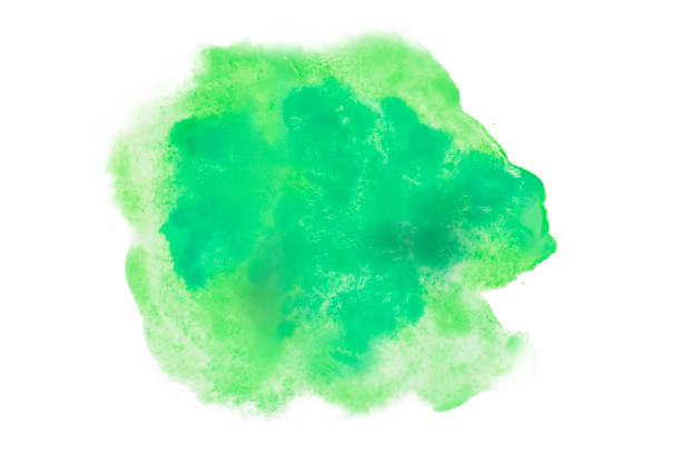 Color, green splash watercolor hand painted isolated on white background, artistic decoration or background Color, green splash watercolor hand painted isolated on white background, artistic decoration or background blotter stock pictures, royalty-free photos & images