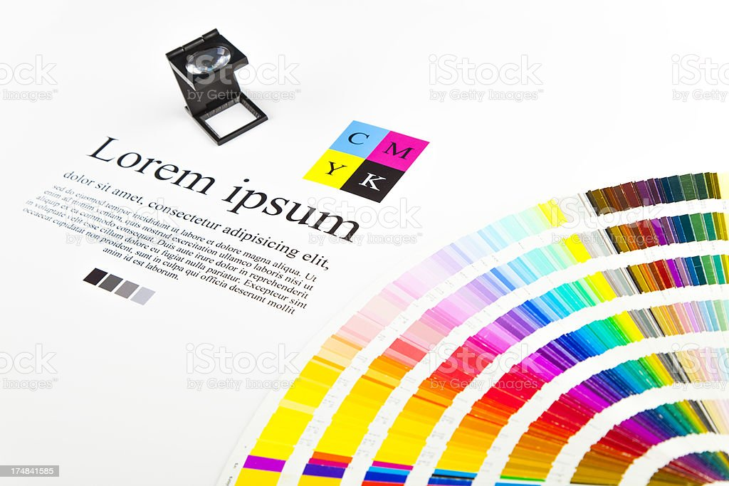 CMYK color guide and lorem ipsum text stock photo
