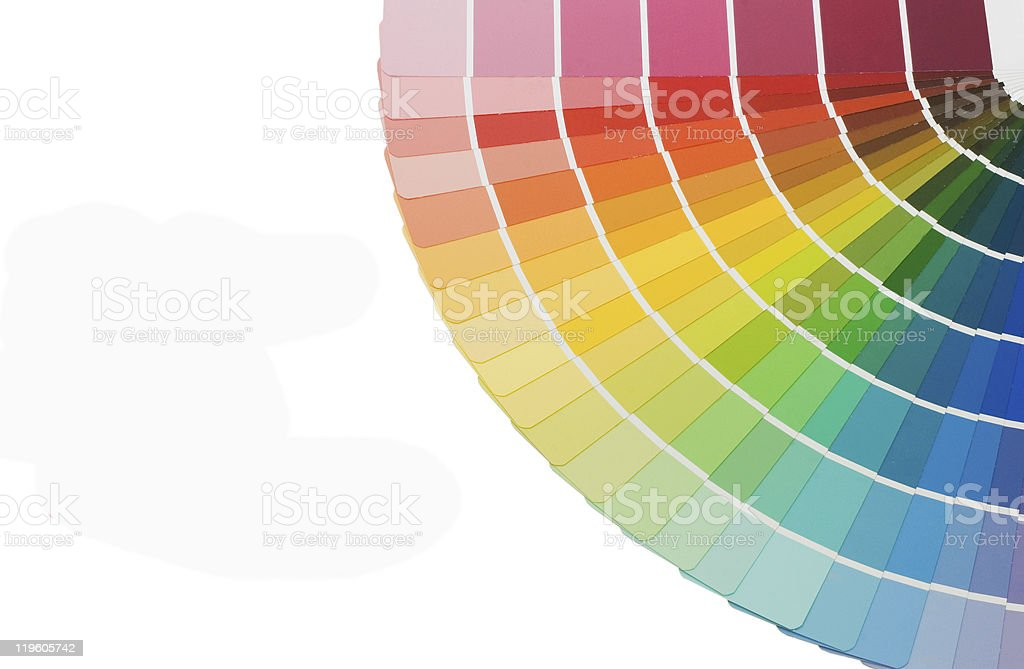 Color guide for selection isolated on white background stock photo