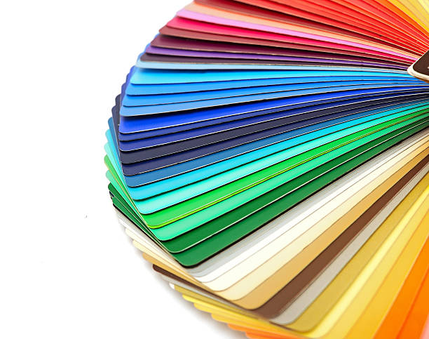 Color guide spectrum swatch samples rainbow on white background stock photo