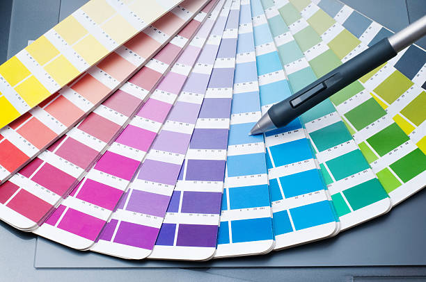 Color guide with digitized pen on graphic tablet. stock photo