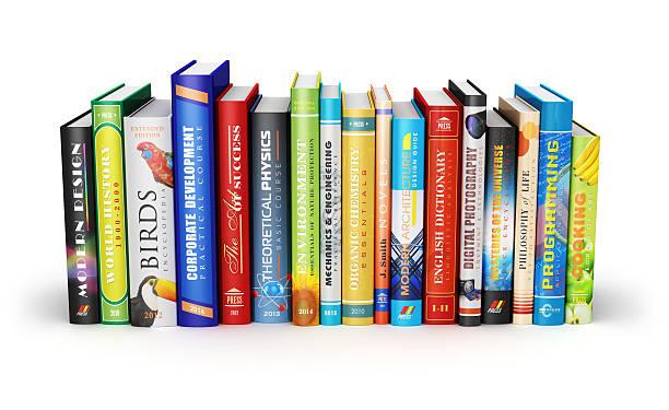 Color hardcover books stock photo